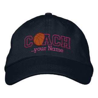 Pink Personalized Basketball Coach for your name Cap