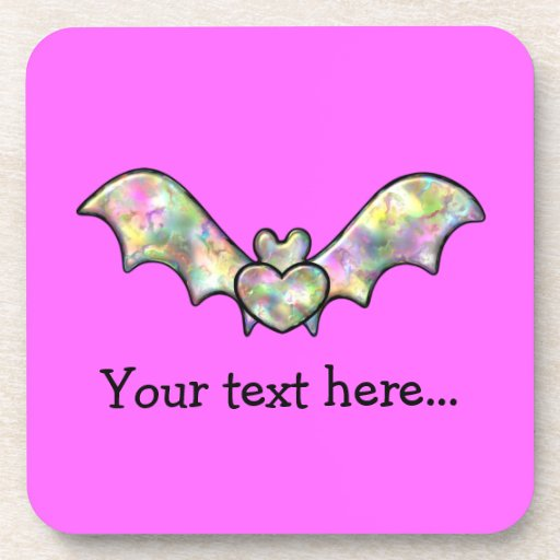 Pink Personalized Bat And Heart Drink Coasters