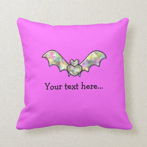 Pink Personalized Bat And Heart Throw Pillows