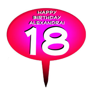 Pink Personalized Birthday Cake Topper