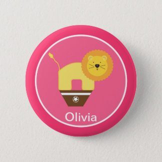 Pink Personalized Circus Birthday Button