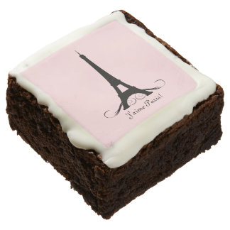 Pink Personalized Eiffel Tower J'aime Paris! Square Brownie