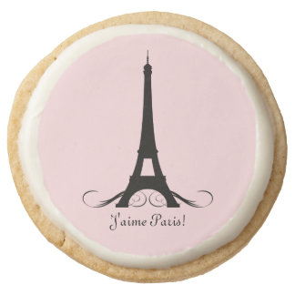 Pink Personalized Eiffel Tower J'aime Paris! Round Shortbread Cookie