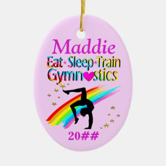 PINK PERSONALIZED GYMNASTICS ORNAMENT