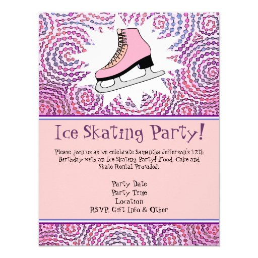 Personalized Girls ice skating party Invitations