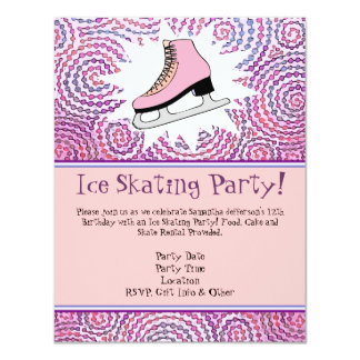 Pink Personalized Ice Skating Party Invitation