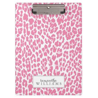 Pink Personalized Leopard Pattern Clipboards