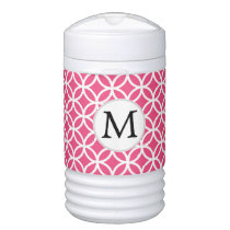 Pink Personalized Monogram  Double Rings pattern Beverage Cooler