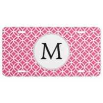 Pink Personalized Monogram  Double Rings pattern License Plate