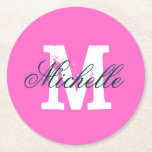"""Pink personalized monogram round paper coasters<br><div class=""""desc"""">Elegant Pink personalized monogram paper coasters in round or square shape. Classy design with stylish script typography and custom name initial letter. Monogrammed party accessories. Great for Birthday,  wedding,  anniversary celebration etc. Customizable colors.</div>"""