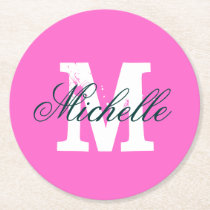 Pink personalized monogram round paper coasters