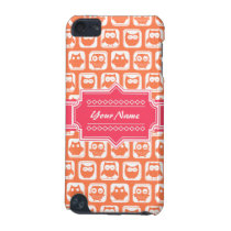 Pink Personalized Name Orange Owls iPod Touch (5th Generation) Case