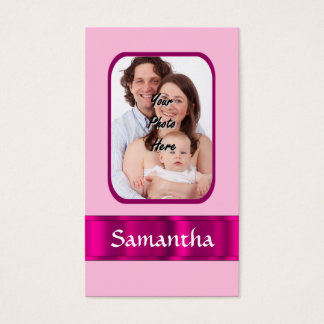 Pink personalized photo business card