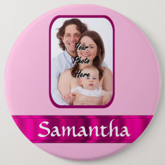 Pink personalized photo button