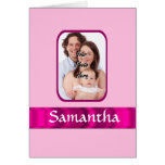 Pink personalized photo greeting card