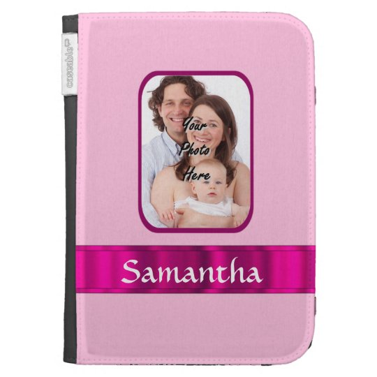 Pink personalized photo kindle 3 case