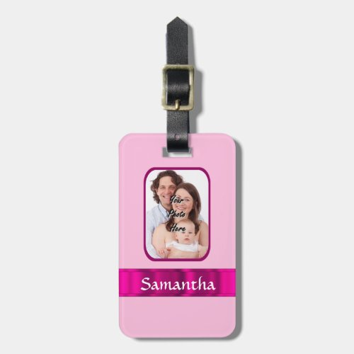 Pink personalized photo luggage tag