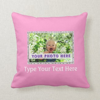 Pink Personalized Photo Pillow Your Photo & Text