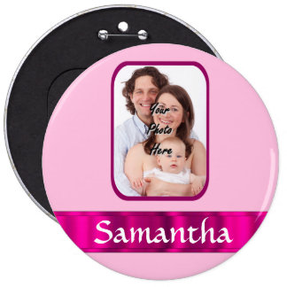Pink personalized photo pinback button