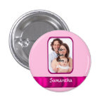 Pink personalized photo pinback buttons