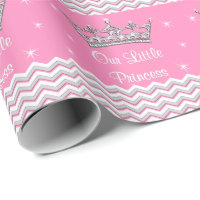 Pink Personalized Princess Gift Wrapping Paper