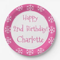 Pink Personalized Snowflake Winter Birthday Kids Paper Plate