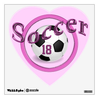 Pink Personalized Soccer Wall Decals for Girls