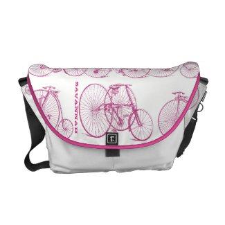 Pink Personalized Vintage Bicycle Messenger Bag rickshawmessengerbag