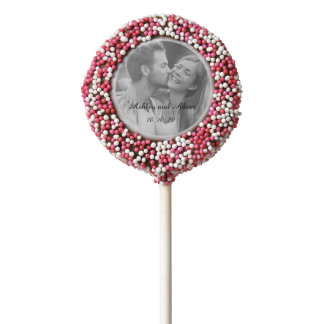 Pink Personalized Wedding Photo Cookie Pop Chocolate Dipped Oreo Pop