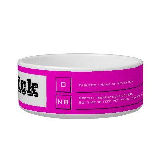 Pink pet food medication guide bowl