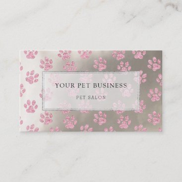 pink pet paw prints on silver business card