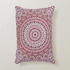 Pink Petal Pattern Mandala Accent Pillow