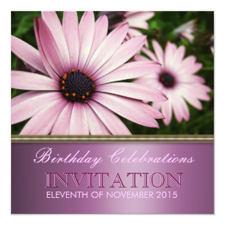 Pink Petals Flower Birthday Party Invitation
