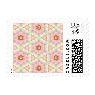 Pink Petals on Hexagons Geometric Fractal Postage