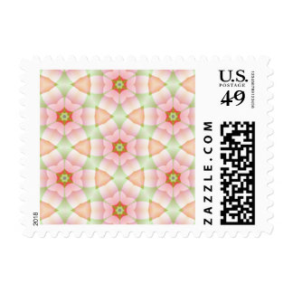 Pink Petals on Hexagons Geometric Fractal Postage Stamps