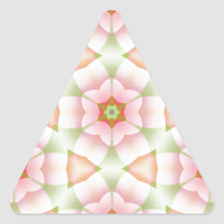 Pink Petals on Hexagons Geometric Fractal Triangle Sticker