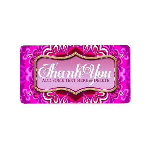 Pink Petals Pattern Thank You Sticker Labels