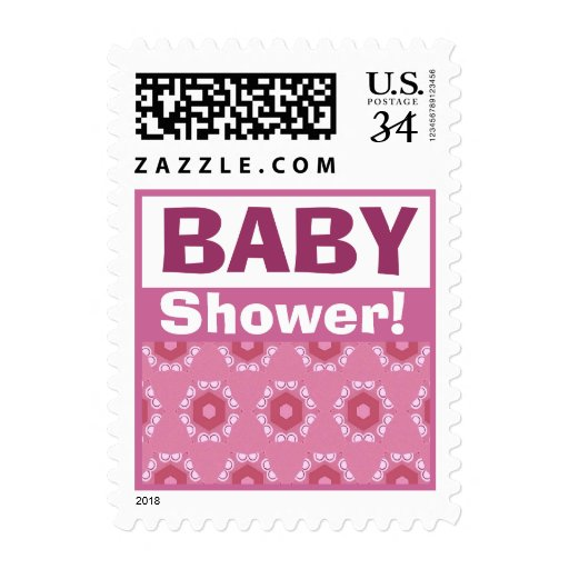 Pink Petite Flowers Girl Baby Showe V304 Postage Stamps