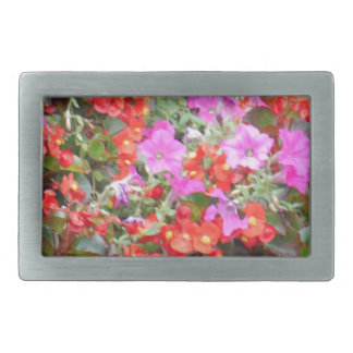 Pink petunia and red geraniums belt buckles