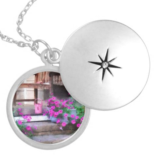 Pink Petunias and Watering Cans Locket