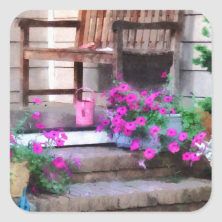 Pink Petunias and Watering Cans Square Sticker
