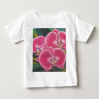 Pink Phalaenopsis Orchids Flowers Acrylic Painting Baby T-Shirt