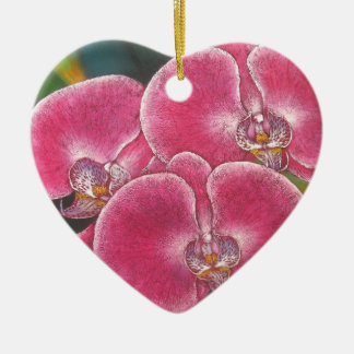 Pink Phalaenopsis Orchids Flowers Acrylic Painting Ceramic Ornament