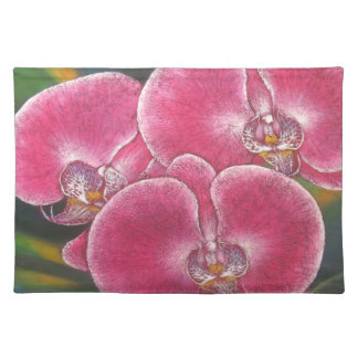 Pink Phalaenopsis Orchids Flowers Acrylic Painting Cloth Placemat