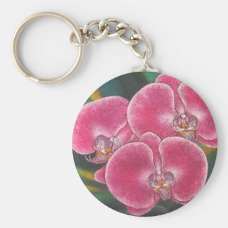 Pink Phalaenopsis Orchids Flowers Acrylic Painting Key Chains