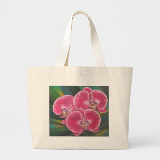 Pink Phalaenopsis Orchids Flowers Acrylic Painting Large Tote Bag