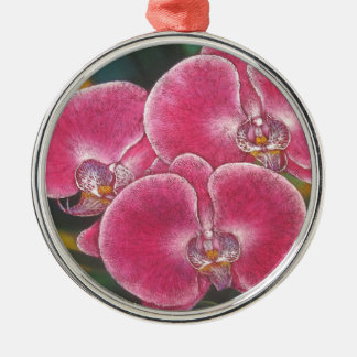Pink Phalaenopsis Orchids Flowers Acrylic Painting Metal Ornament