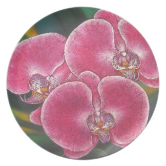 Pink Phalaenopsis Orchids Flowers Acrylic Painting Plate