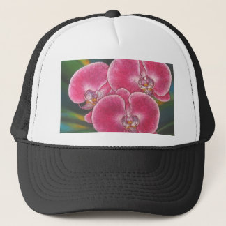 Pink Phalaenopsis Orchids Flowers Acrylic Painting Trucker Hat