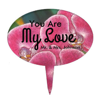Pink Phalaenopsis Orchids Flowers Cake Topper